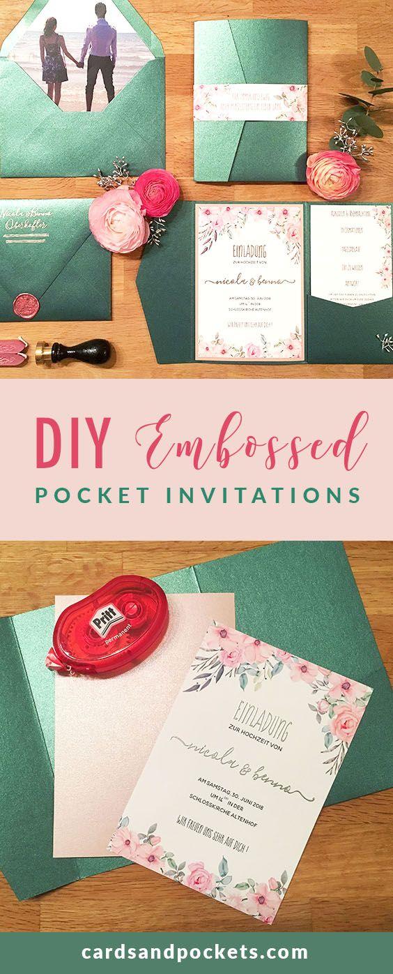 DIY Wedding Pocket Invitations using Jade and Rose color palette, floral designs, custom photo envelope liner, DIY embossing, and wax seals.
