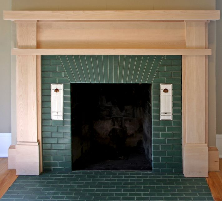 Custom Fireplace With 230 Matte Green Glaze And 4x12 Prairie Blossom Deco Tiles Fireplace Tile Surround Craftsman Fireplace Fireplace Tile
