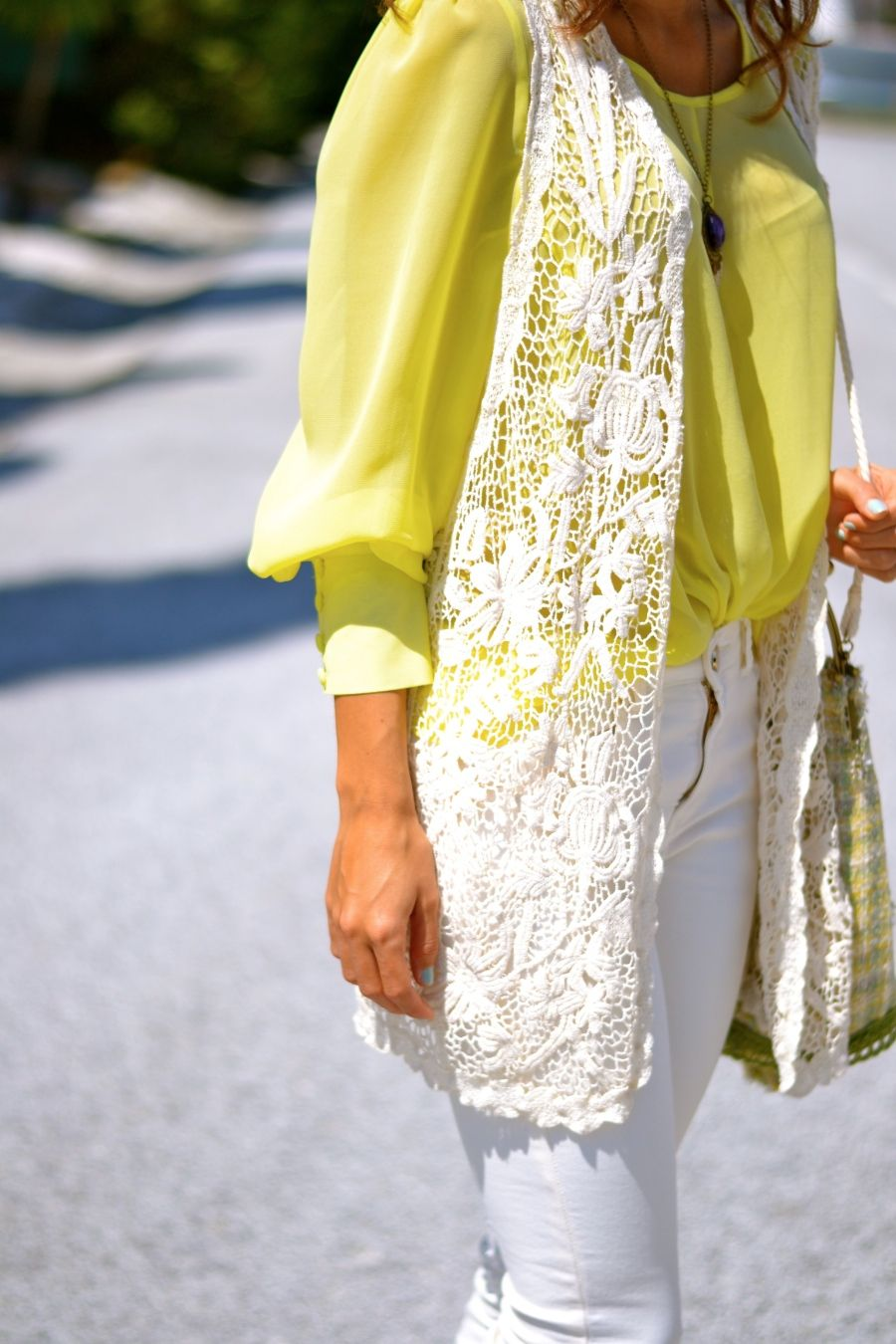 wow great white lace vest