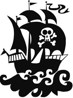 Michas Stoffecke Velours Motiv Grosses Piratenschiff Schwarz A Vjp 093 Z Piraten Scherenschnitt Vorlagen Silhouetten Projekte