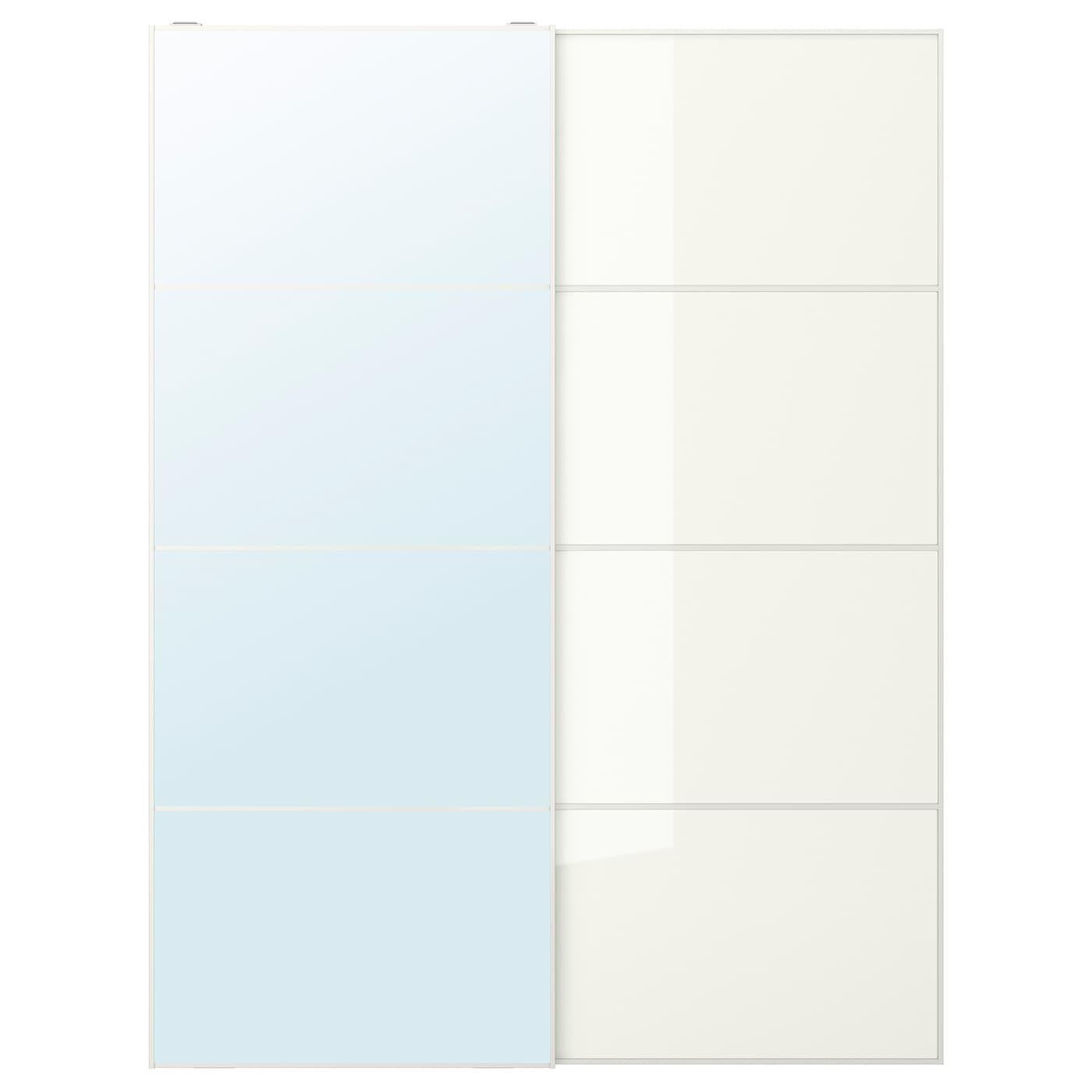 Auli Farvik Pair Of Sliding Doors Mirror Glass White Glass Shop Here Ikea In 2020 Mirror Door Sliding Doors Glass Mirror