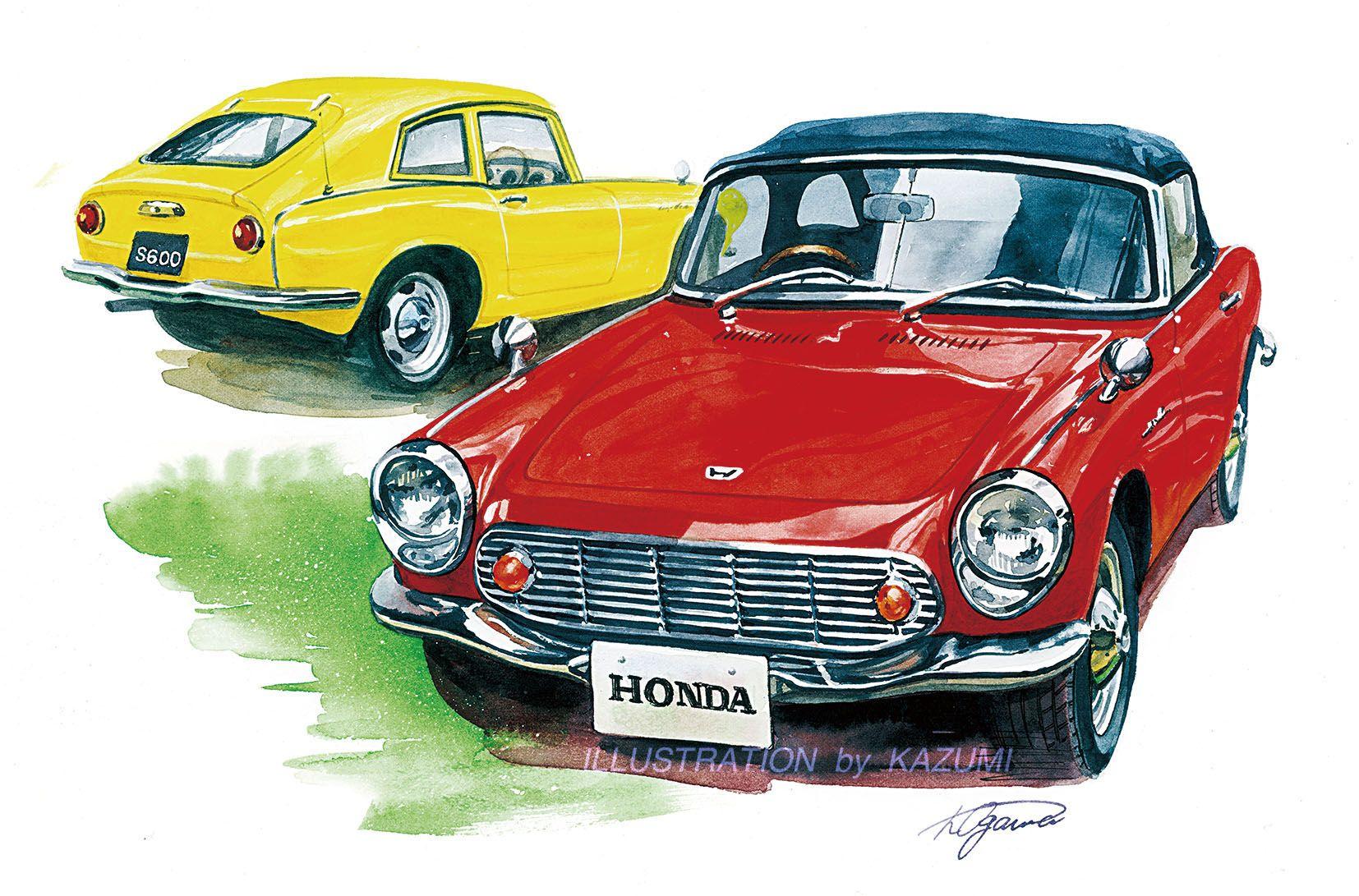 Honda S600 車の絵 車 イラスト バイクアート