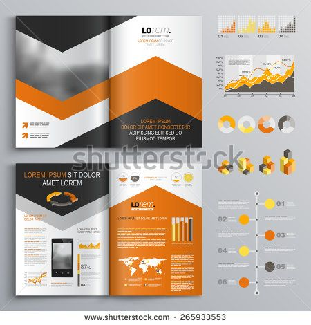 Classic White Brochure Template Design With Black And Orange