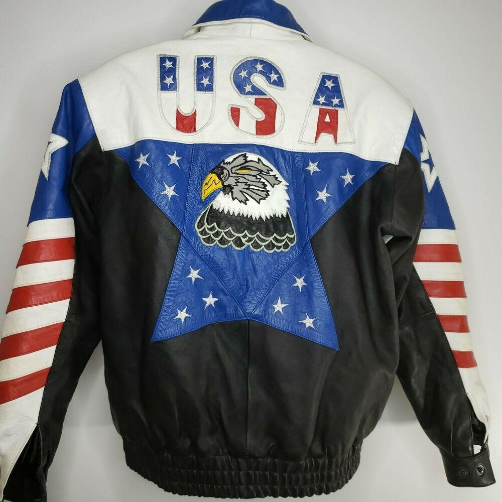 Vintage 90s Flag Eagle Usa Red White Blue Leather Bomber Jacket Stars Stripes L Leather9000 Bomber Leather Bomber Jacket Jackets Leather Bomber