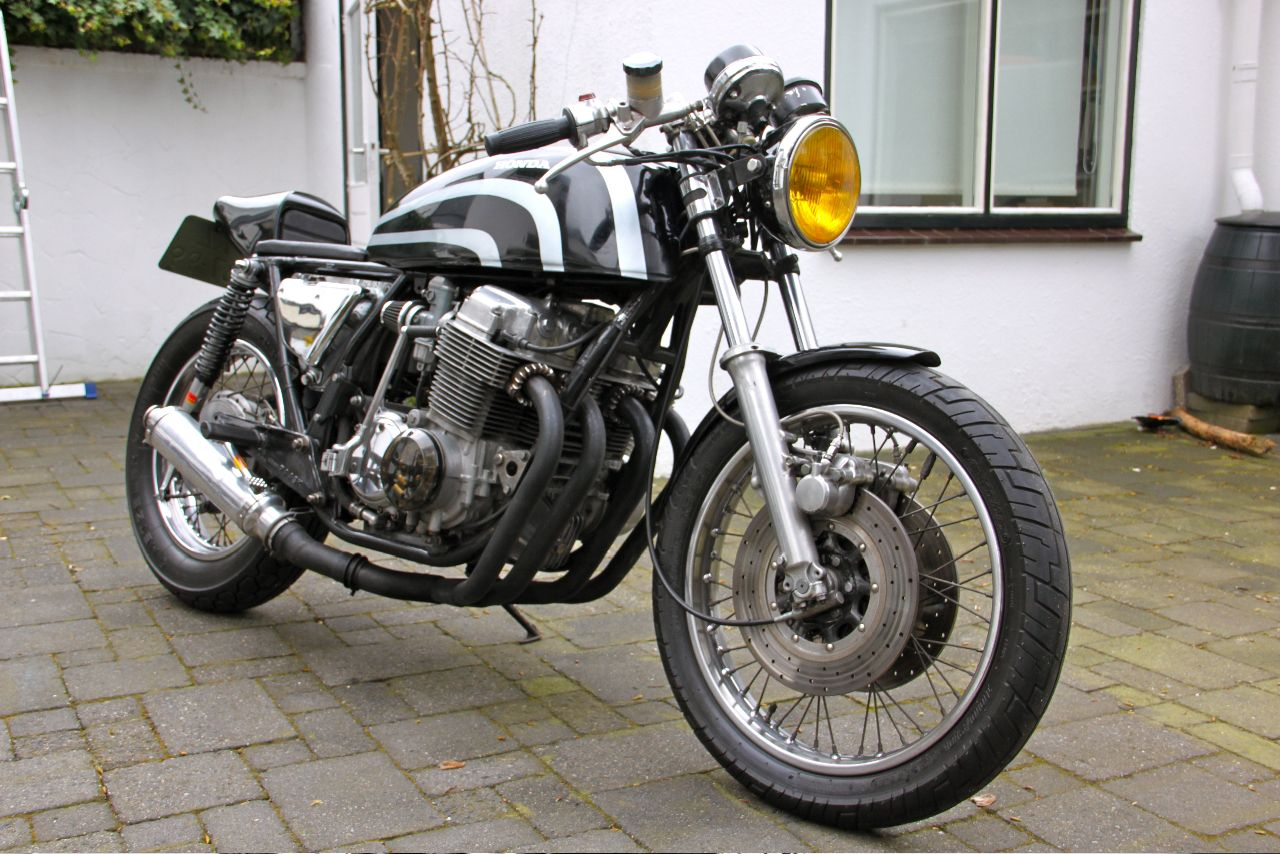 My '77 Honda CB750 four cafe racer, with newly painted tank
