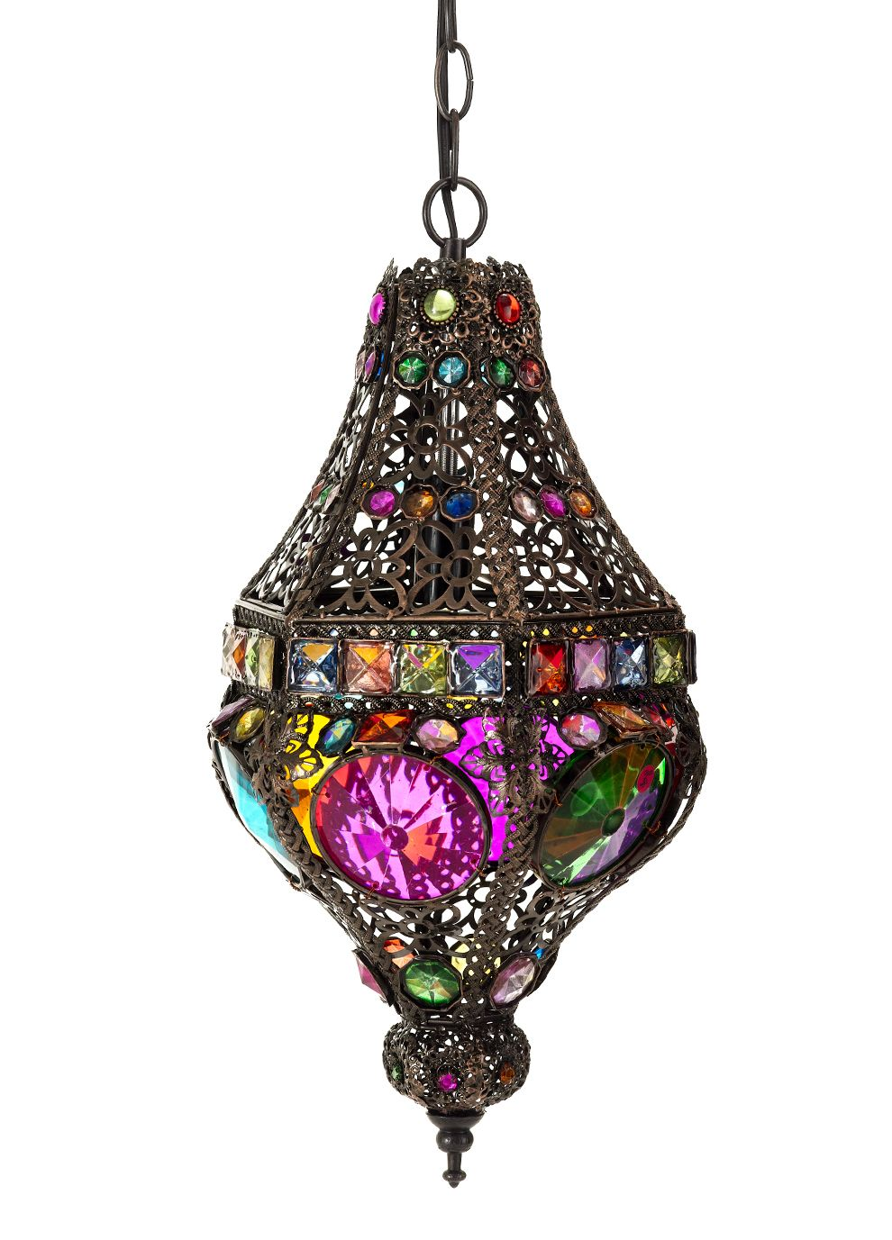 This is almost too kitsch but i love it forever home pinterest moroccan treasures ornate coloured hanging lamp a stunning kaleidoscope of colour with this gorgeous metal and coloured glass ceiling lamp all arubaitofo Gallery
