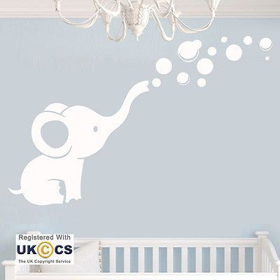 details about wall stickers animal elephant cute nursery girls boys