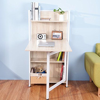 Life Carver Compact Computer Desk 4 Display Storage Shelves With Hideaway Folding Study Laptop Table