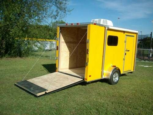 6 X 12 Enclosed Toy Hauler Trailer Yellow A C Heat Awning New Toy Hauler Trailers Best Trailers Enclosed Trailers
