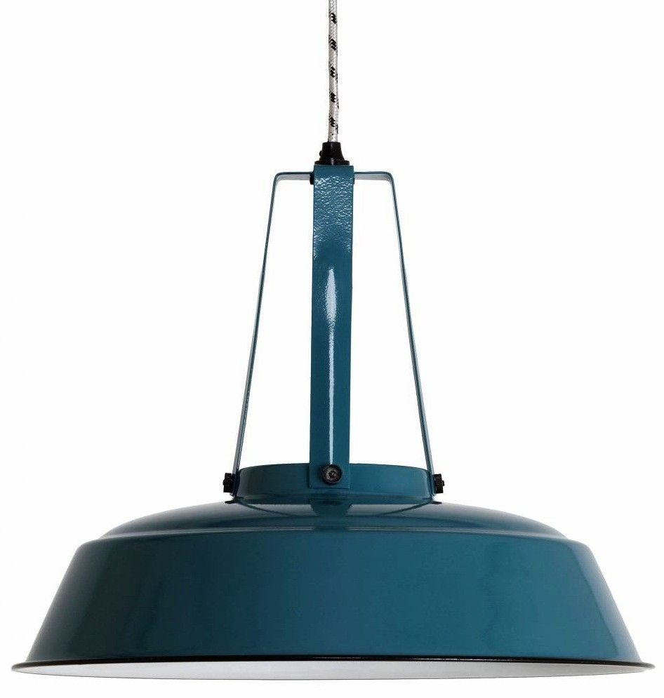 Suspension Bleu Canard Suspension Industrielle Métal Bleu Petrol Ø 45cm Hk Living