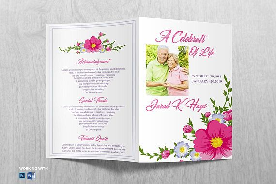 Funeral Program Template Printable Funeral Program Memorial