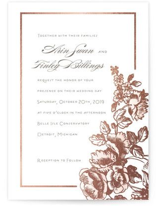 Gilded Garden Foil-Pressed Wedding Invitations #rusticweddings #rusticweddinginvitations #rusticweddinginspiration #floralweddinginvitations