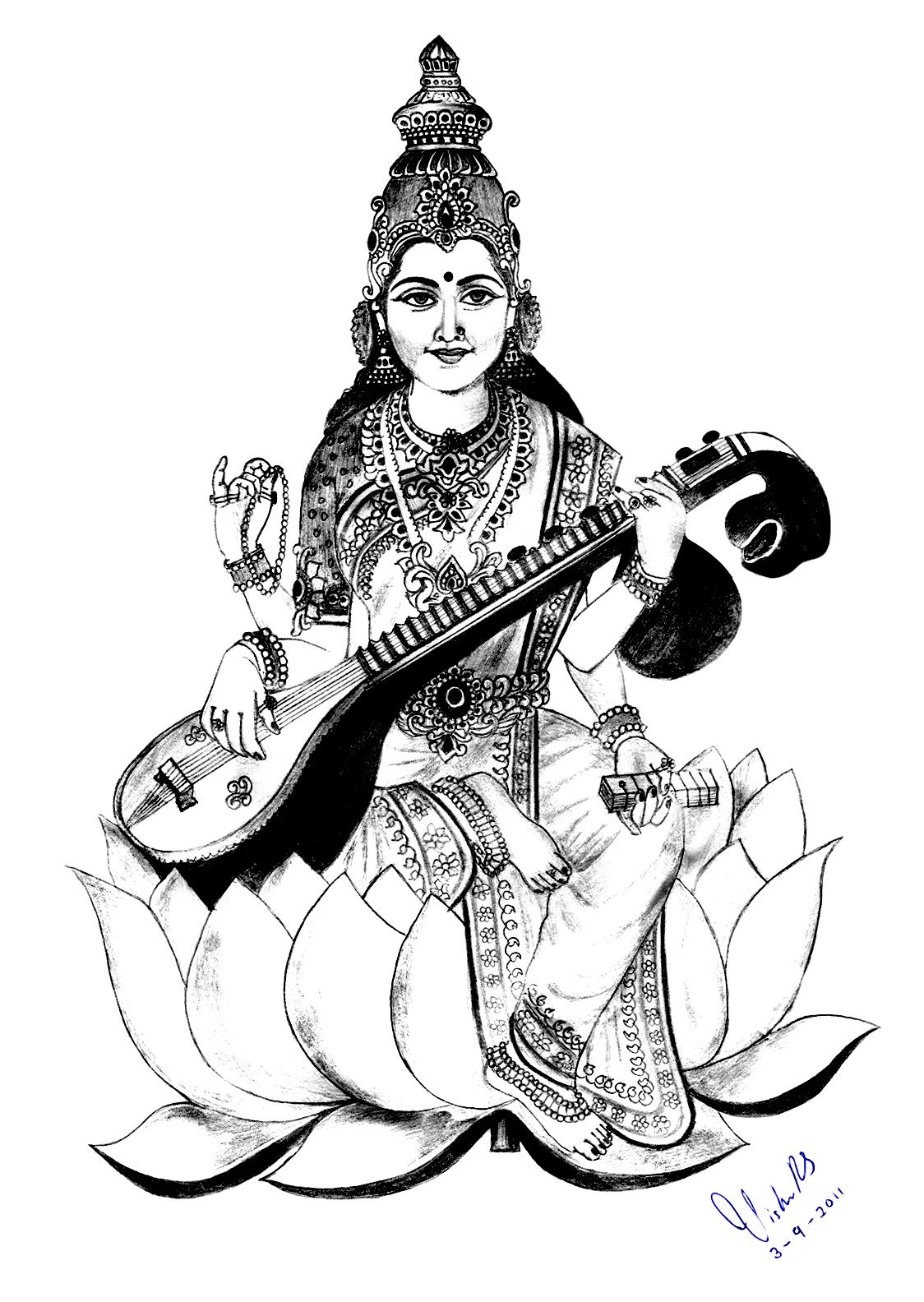 To print this free coloring page «coloring-adult-india-saraswati-2 ...