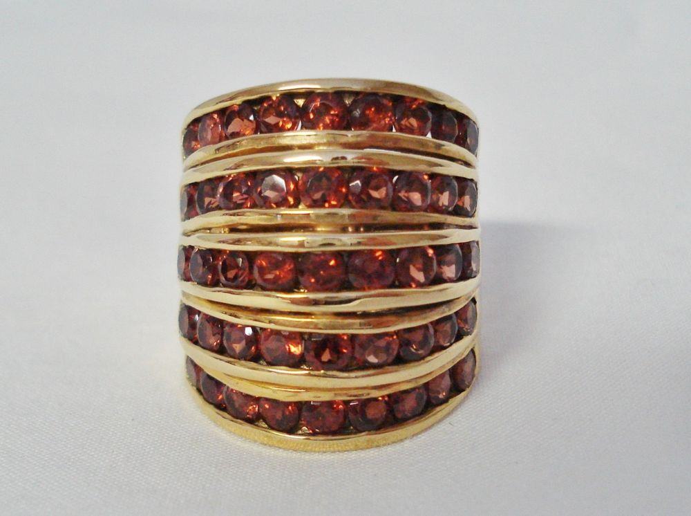 14k yellow gold on sterling silver 5 row garnet 9 cocktail ring qvc