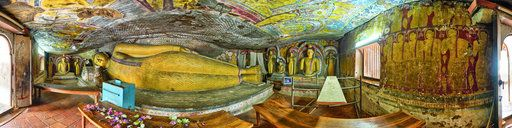 Dambulla cave temple, fifth cave, Sri lanka. 360° panoramic photography by Malinnikov Ruslan.