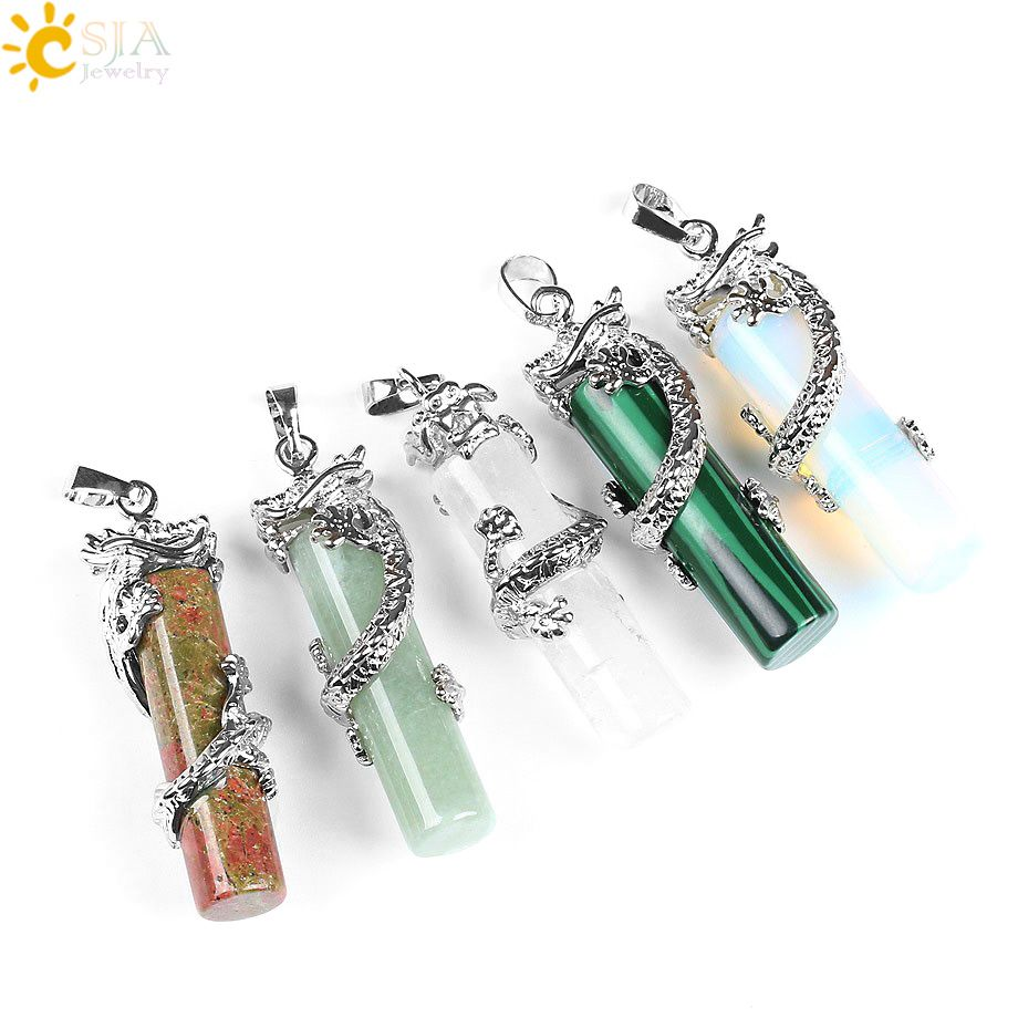 Natural Crystal Quartz Gem Beads Hexagon Prism Wrapped Angel Wings Stone Pendant