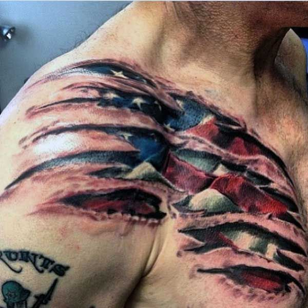 Top 49 Ripped Skin Tattoo Ideas 2021 Inspiration Guide Ripped Skin Tattoo Flag Tattoo American Flag Tattoo
