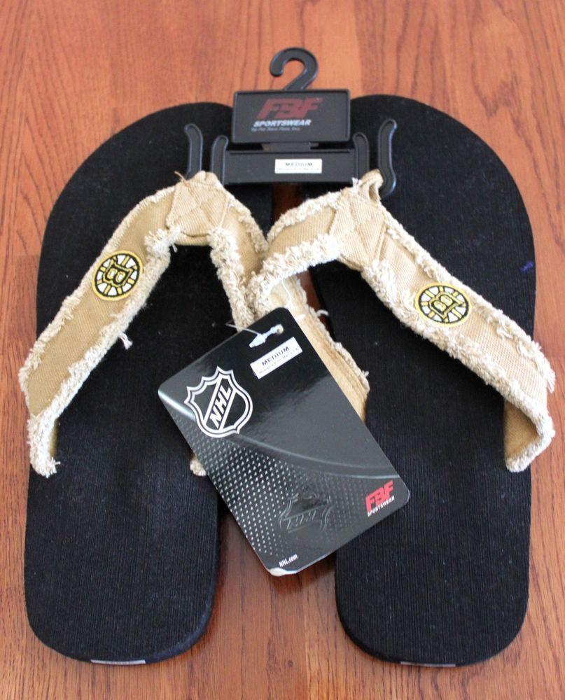 b2eca555dbe7 NEW Boston Briuns Flip Flop Sandals Size Medium Womens 9-10 Mens 7-8 ...