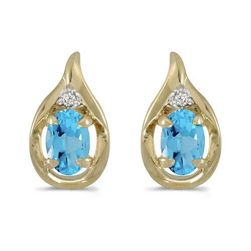 14K Yellow Gold Oval Blue Topaz and Diamond Earring (1ct tgw)s (1ct. Tgw)
