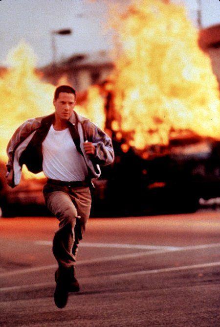 "Keanu Reeves (September 2, 1964 - ) as Officer Jack Traven in ""Speed"", 1994, age 30"