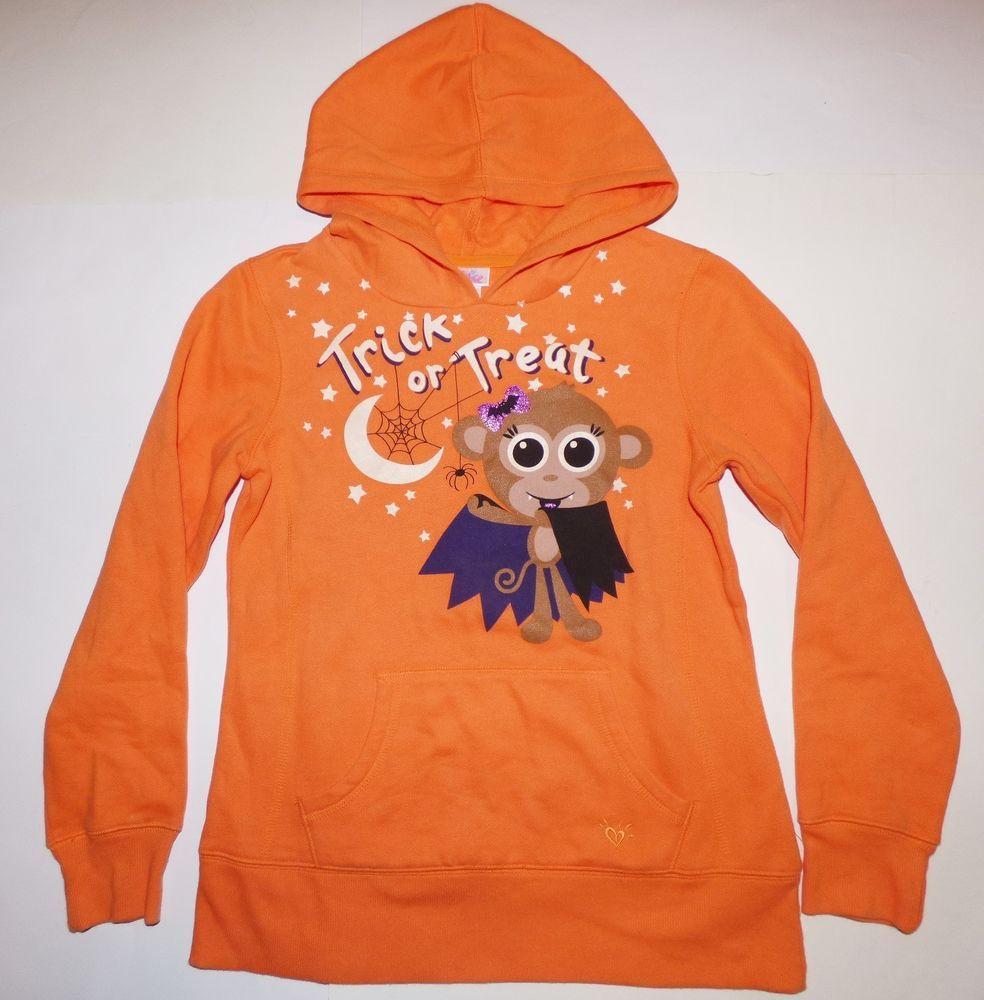 Justice Halloween Trick Or Treat Monkey Orange Glow Hoodie Sweatshirt Girls 10 Justice Everydayholiday Sweatshirts Hoodie Girl Sweatshirts Hoodies