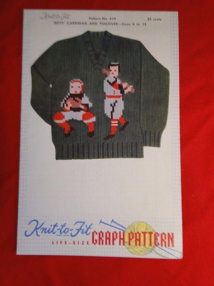1954 Knit To Fit Life Size Knitting Graph Pattern Boys Baseball