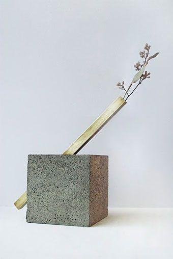 Gold & concrete vase