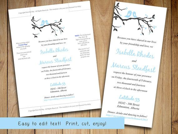 Love bird wedding invitation template tea length invitation love bird wedding invitation template tea length invitation printable wedding love bird branch baby blue wedding invitation diy solutioingenieria Gallery