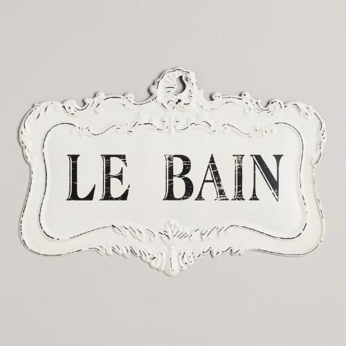 Like an antique plucked from a French boutique, our Le Bain Sign exudes plenty of vintage style with its scrolling shape and distressed white finish. It's the perfect bathroom decoration to really bring it all together.