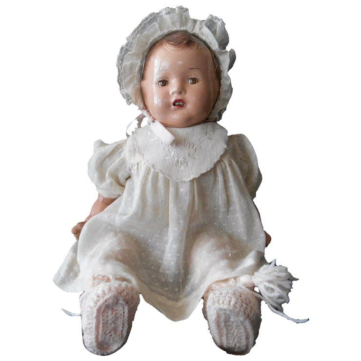 Composition and Cloth Baby Doll from 1930's--Unmarked, but ...