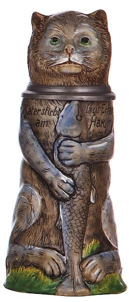 Vintage character stein, .5L, pottery, marked Germany - Cat holding Fish