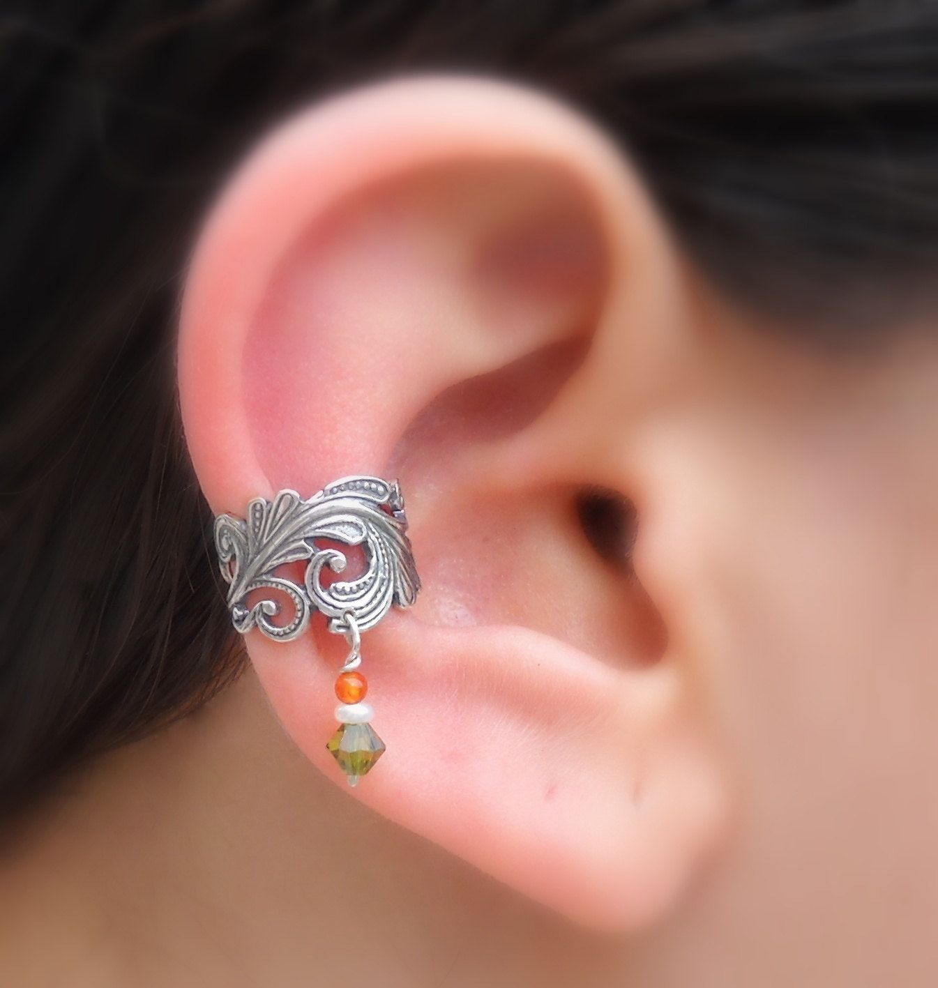 Nose piercing through the middle  Sterling Silver Ear Cuff  Lace  PearlCarnelian  Swarovsky