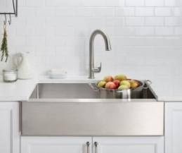 Farmhouse Sink Stainless Steel Metal 30 Ideas Farmhouse Farmhouse Sink Kitchen Stainless Steel Apron Sink Stainless Steel Kitchen Sink