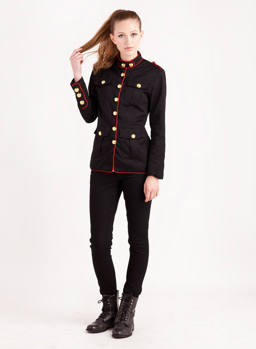 Women's Black Military Red Piping Jacket with Gold Buttons