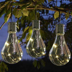Set Of Six Solar Lightbulb Hanging Garden Lights   Outdoor Decorations