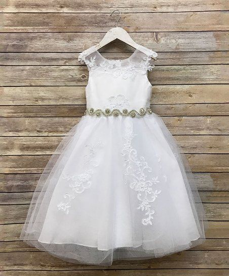 29cb04fb6c7 Precious Kids White Rhinestone Belted Dress - Girls