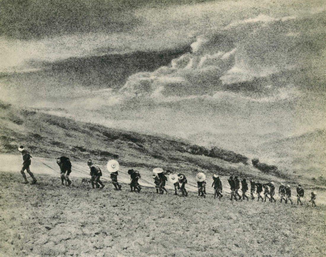 """Chin-San Long, [Lang Jingshan/Lang Chin San/Chinsan-Long] (Chinese, 1892-1995).  """"Boat Towers of the Kia Ling Kiang"""".  Photogravure. c1939."""