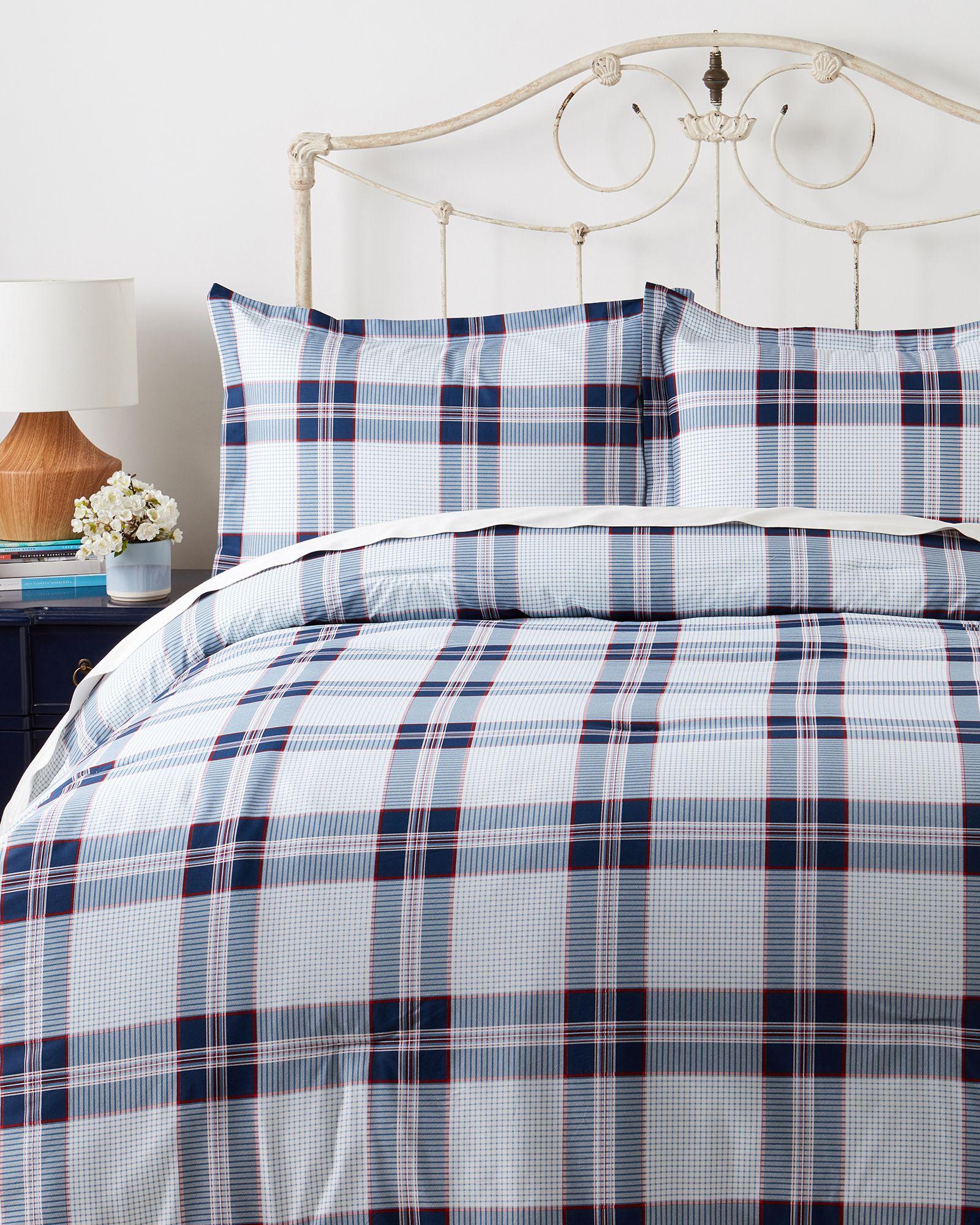 Tommy Hilfiger Navy Light Blue White Plaid Stripe QUEEN Size Sheet Set 4 Piece