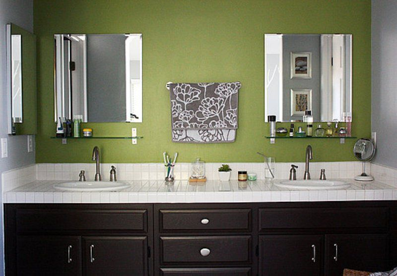green walls, chocolate brown cabinets..bathroom idea w the ...