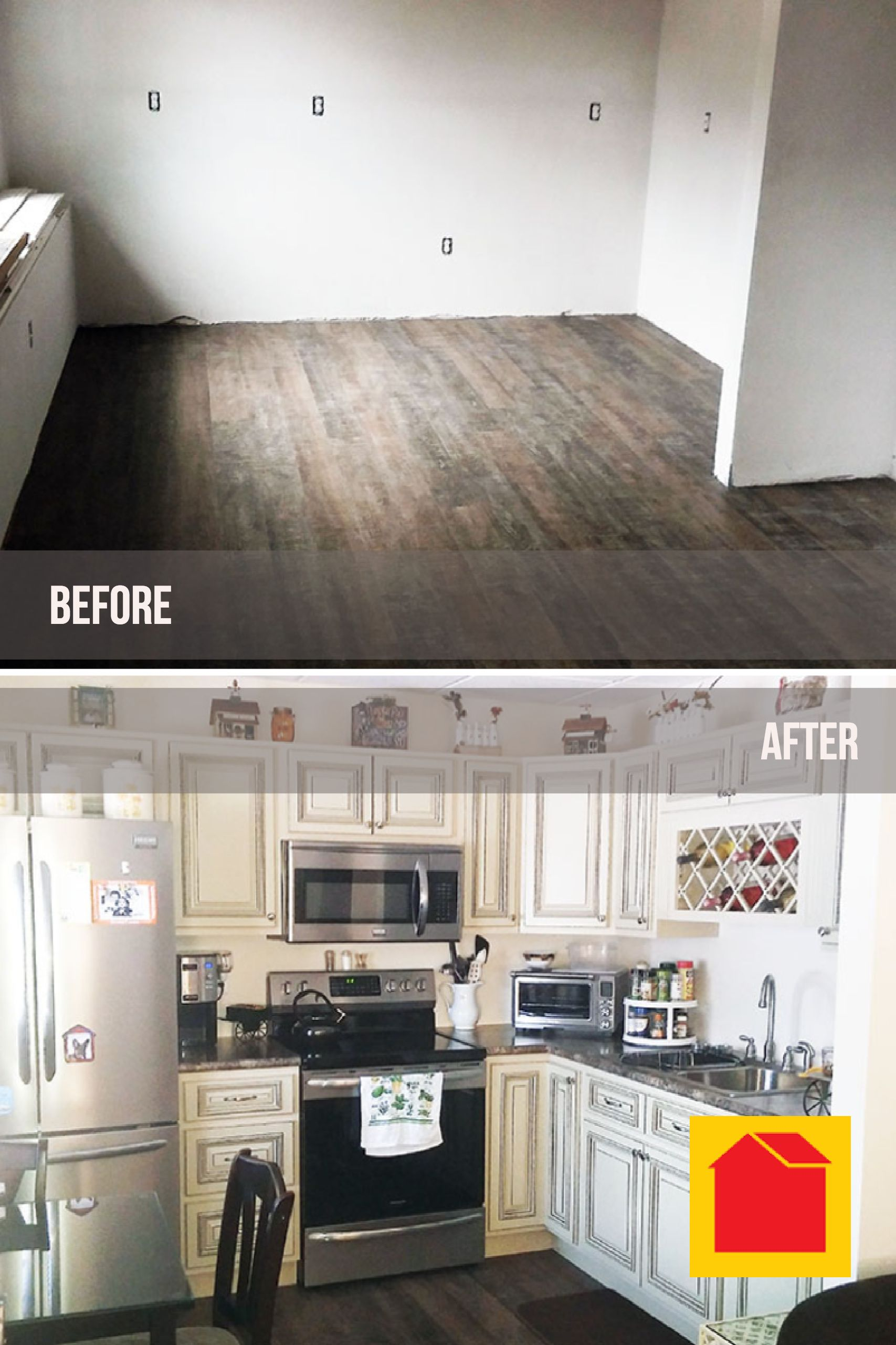 Full Kitchen Renovation With Before And After Pictures Kitchen Plans Kitchen Renovation Building A New Home