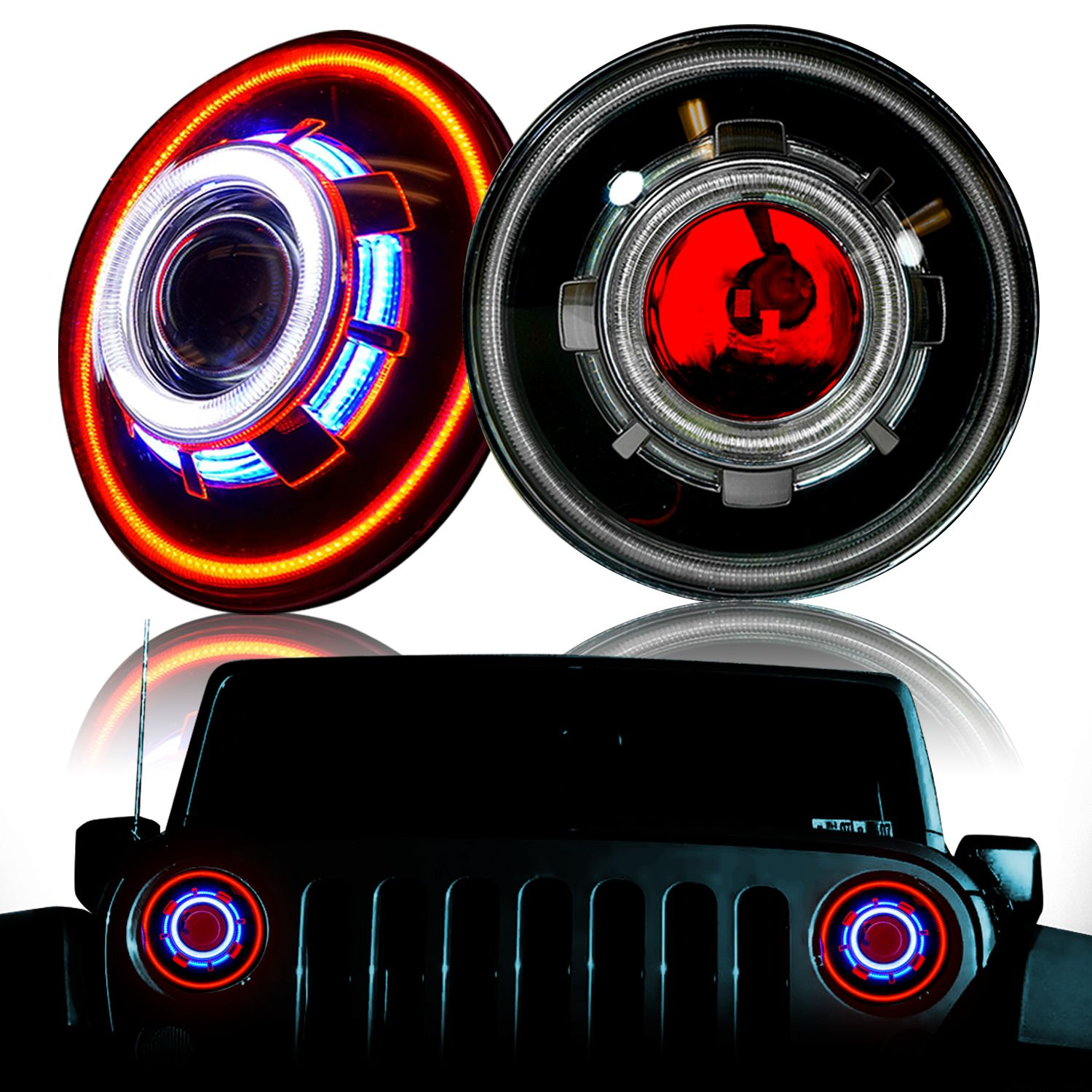Red Center Demon Led Projector Headlights For Wranglers 2007 2018