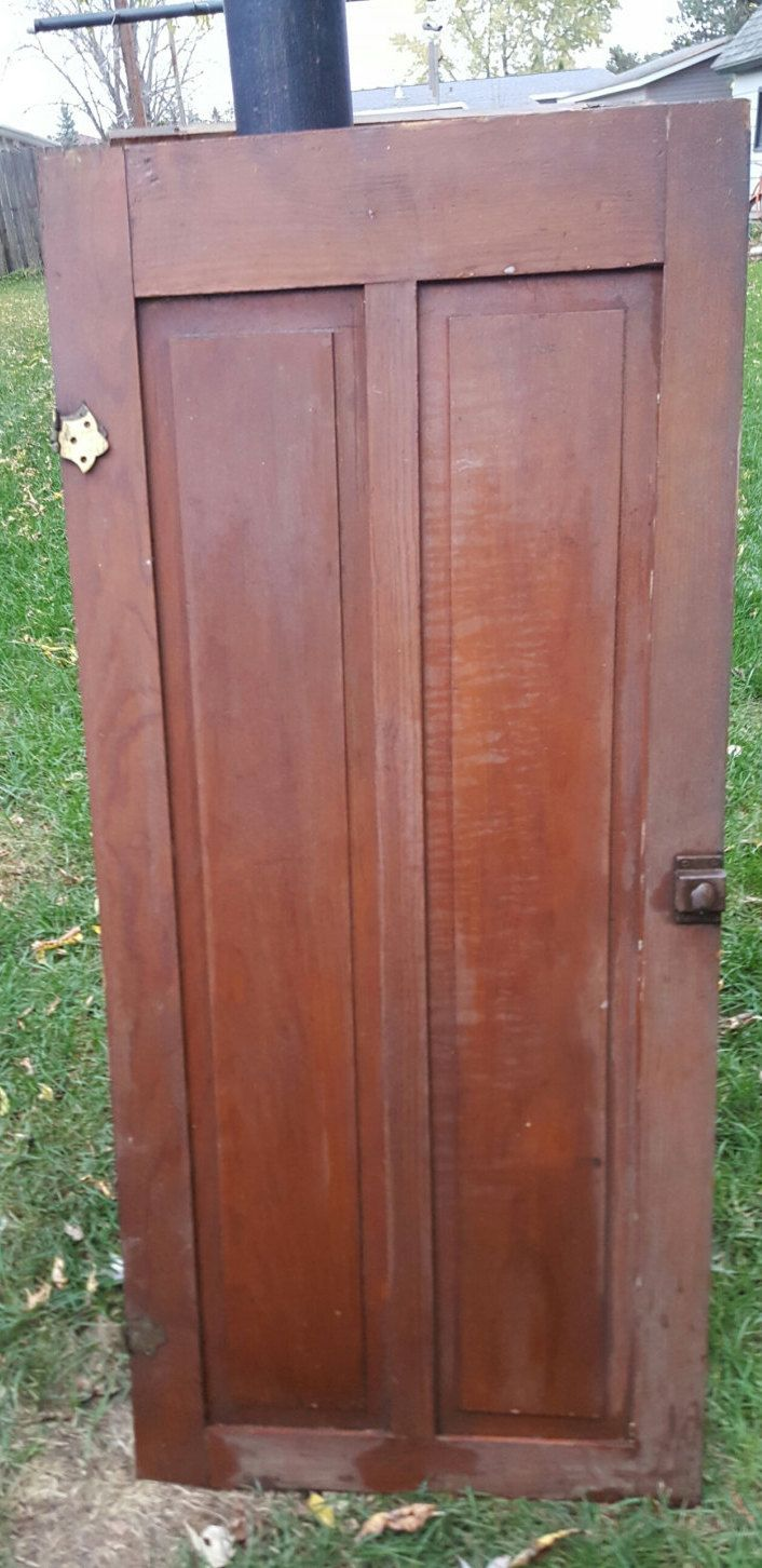 Old Wood Door, Antique, Cupboard Door, Architectural Salvage, 5 panel,  Pantry Door, Panel, Solid Wood, Hardware, Hinges, 18