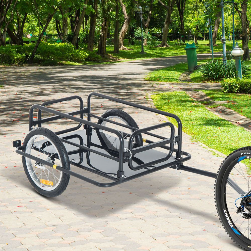 Details About Aosom Steel Frame Bicycle Bike Cargo Trailer Luggage