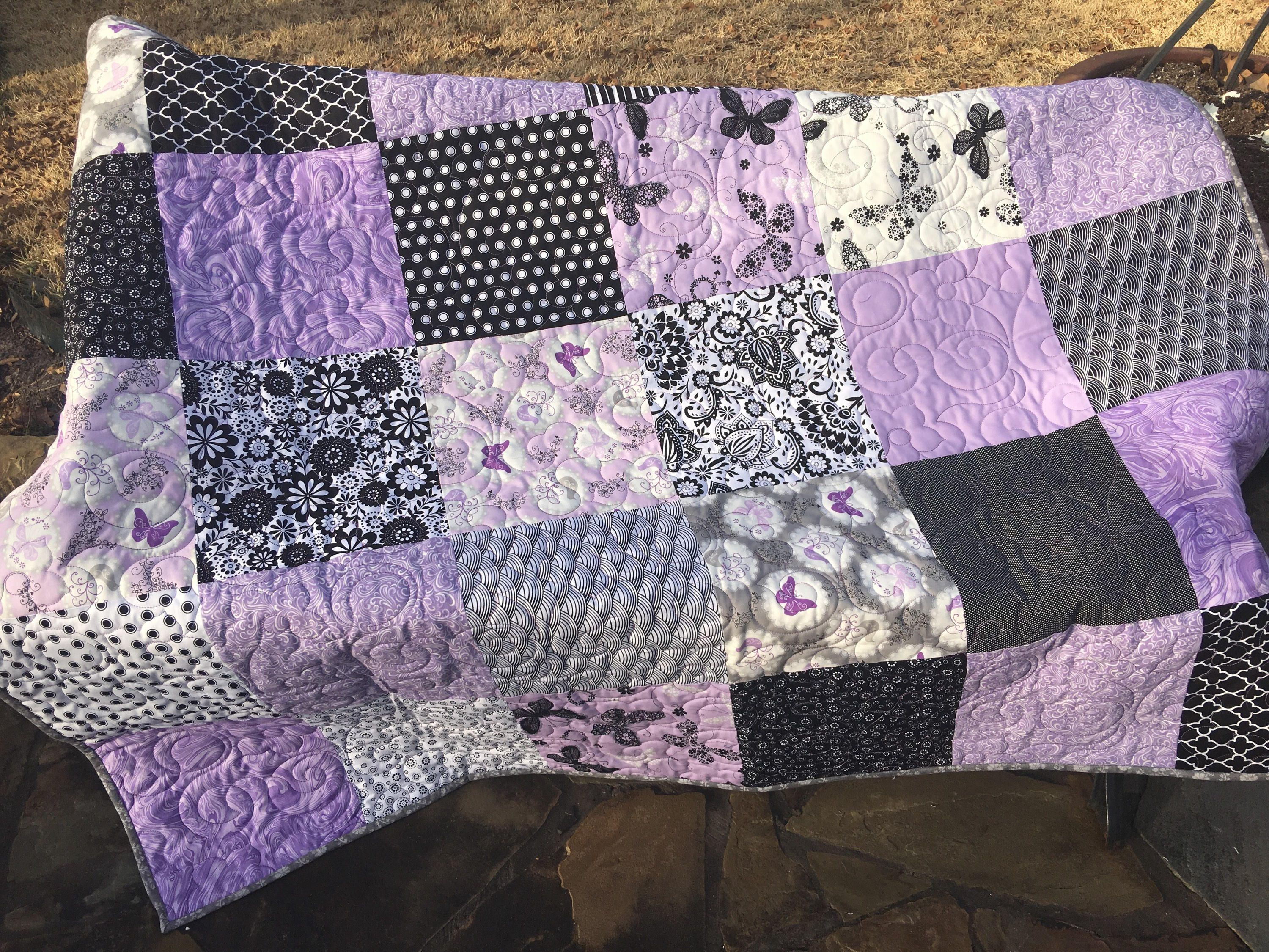 Lavender And Gray Quilt Purple And Gray Quilt Lilac Quilt Purple Quilt Gray Quilt Butterfly Quilt Q178 Butterfly Quilt Grey Quilt Quilts