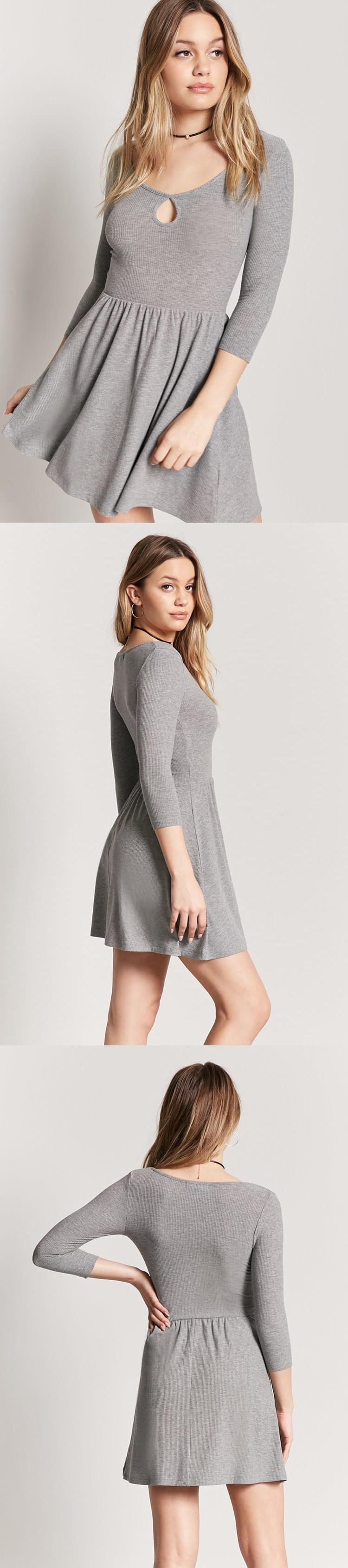 Heathered cutout skater dress usd forever new
