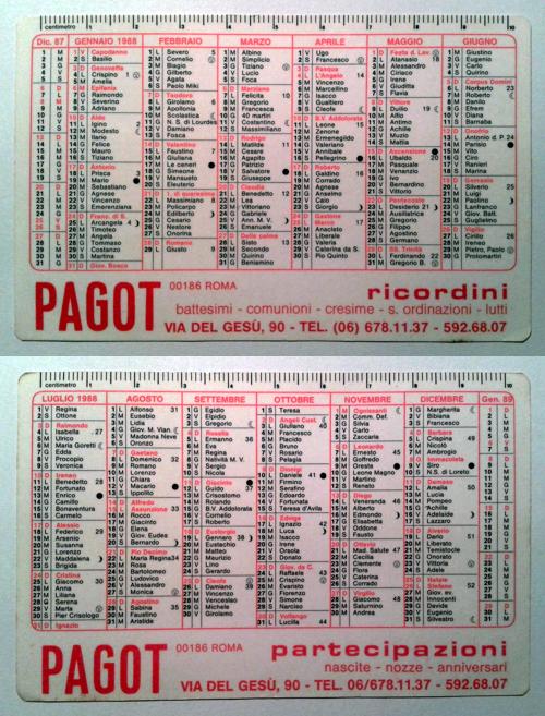 Calendarietto pubblicitario 1988 - Pagot