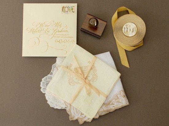 vintage handkerchief Save the Dates