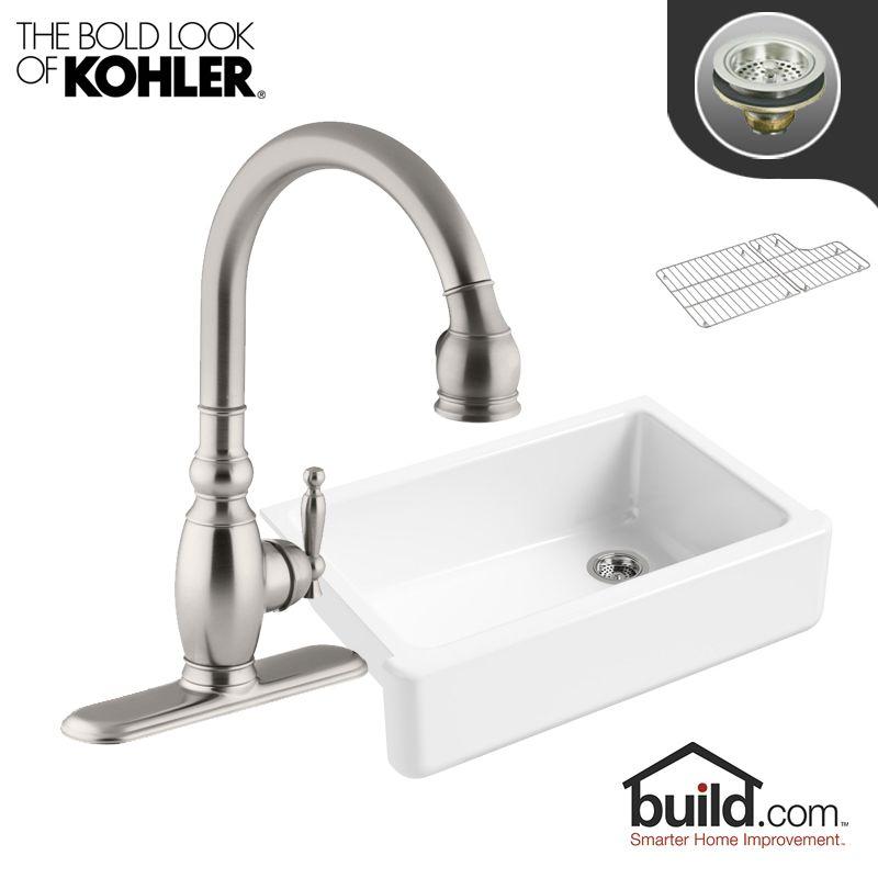"Kohler K-5827/K-690 Whitehaven Kitchen Kit with 32-11/16"" Cast Iron Single Basin Vibrant Stainless Faucet Fixture Kitchen Sink Combination"