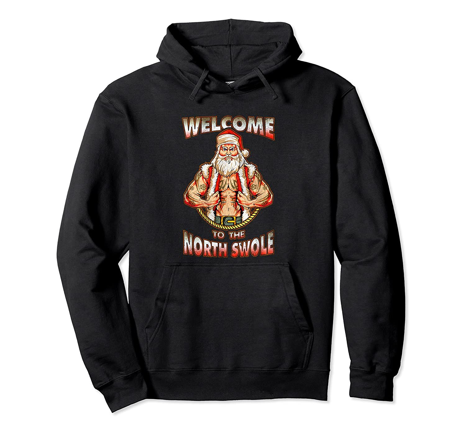 North Swole Santa Muscles Gym Motivation Tattoos Funny Gift Hoodie