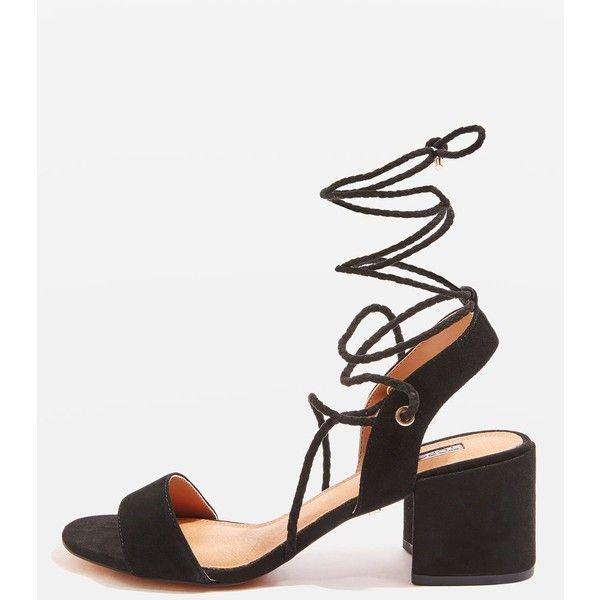 Ankle tie sandals, Block heel shoes